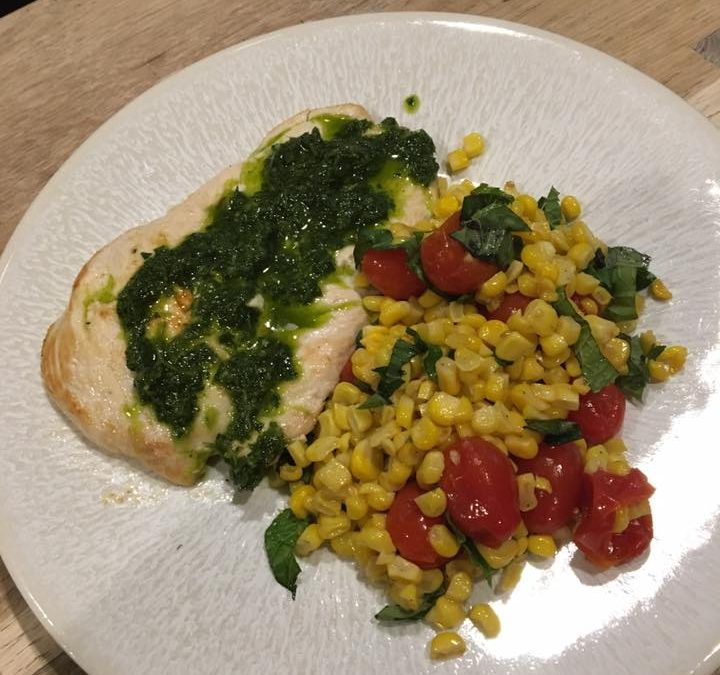 Chicken Paillard with Roasted Corn and Tomato Salad and Chimichurri