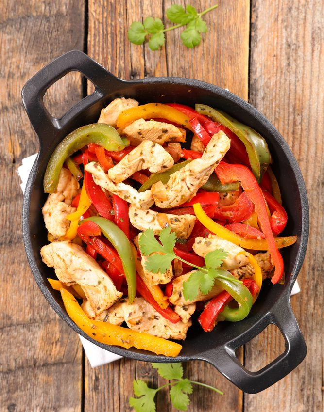 Chicken fajitas.
