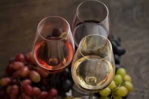 Red, white and rose wines in glasses
