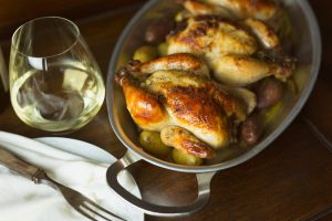White wine and roasted game hens