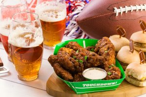 Beer, wings and sliders for a Super Bowl party
