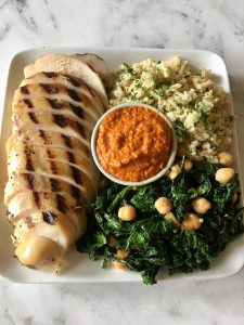 Grilled Chicken, Romesco, Quinoa, Sauteed Kale & Chickpeas