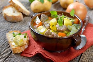 Irish coddle, a sausage, bacon, onion and potato hot pot