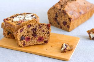 Barmbrack, traditional Irish bread with dried fruit on a cutting board
