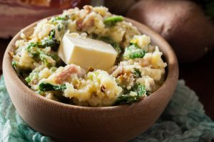 Colcannon, an Irish mashed potato dish with leeks, cabbage, ham and butter