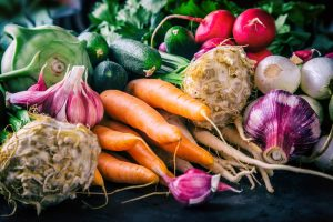 Tray of fresh root vegetables