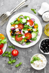 Greek salad on a table