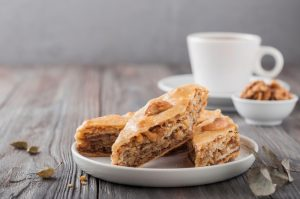 Baklava dessert slices on plate