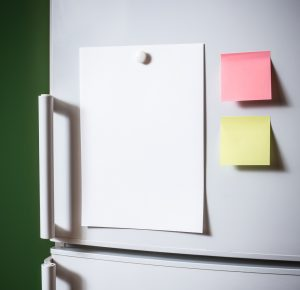 Sticky notes on refrigerator.