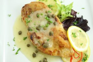Lemon caper chicken on a plate