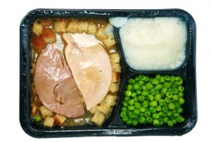 Frozen processed TV dinner.