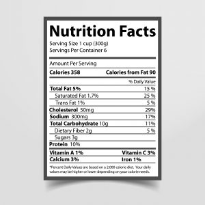 Nutrition label.