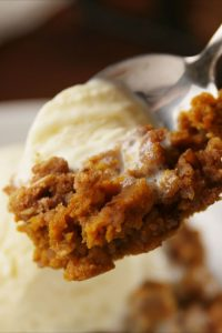 Pumpkin cobbler with ice cream on it
