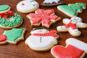 Assorted Christmas sugar cookies.
