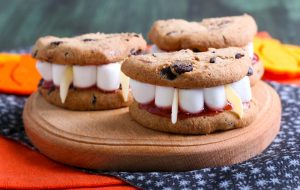 Chocolate chip Dracula dentures.
