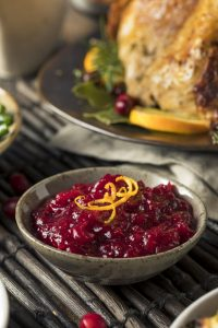 Homemade cranberry sauce with orange zest.