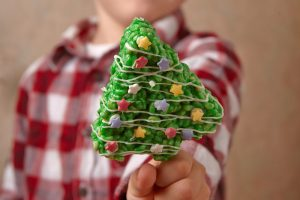 Green Christmas tree shaped Rice Krispie treats.