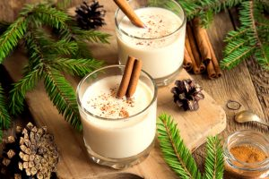 Two glasses of eggnog.