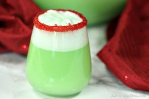 A glass of Grinch Punch.