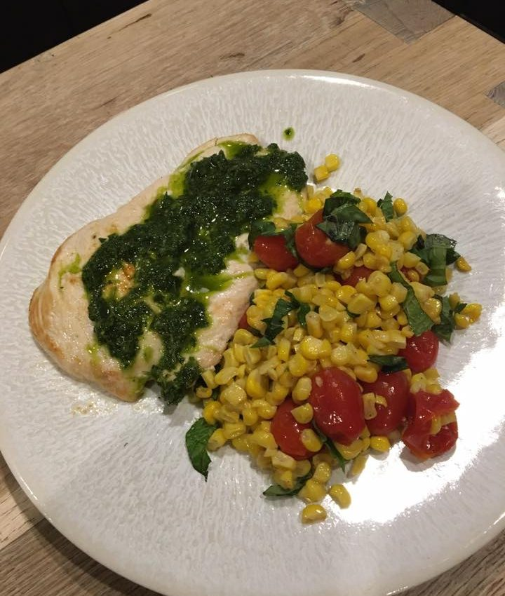 Chicken Paillard With Roasted Corn And Tomato Salad And Chimichurri Market Table
