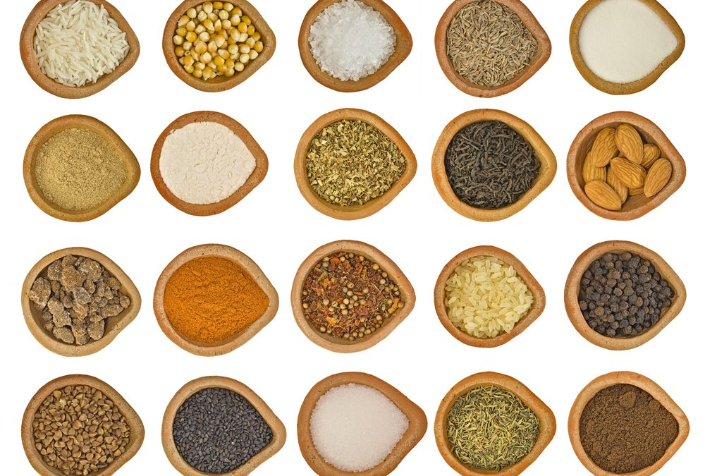 Dishes of spices and seasoning